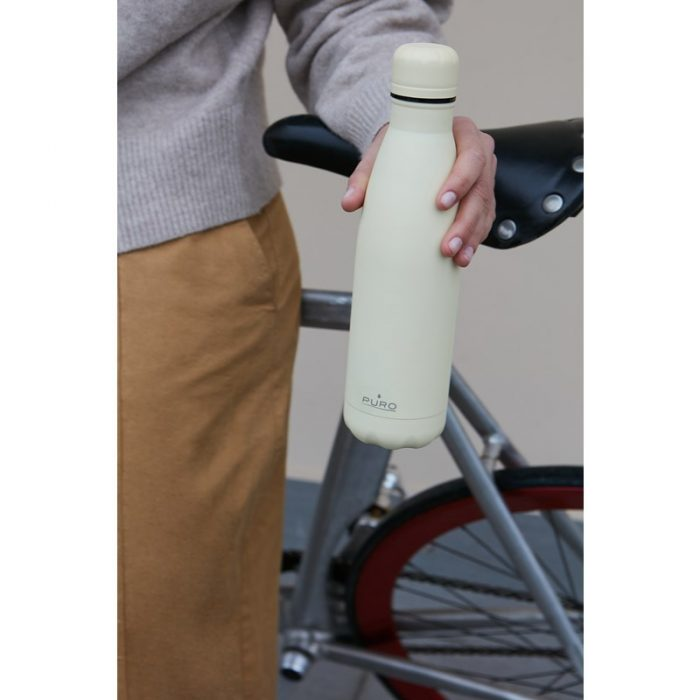 puro icon thermal stainless steel water bottle 500ml (beige) (powder coating) - export 2209