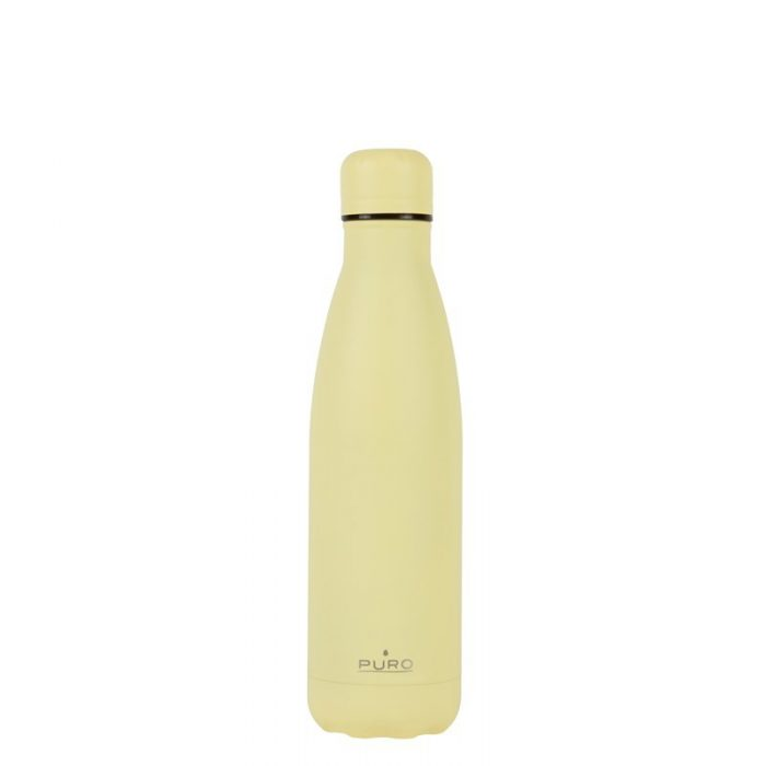 puro icon thermal stainless steel water bottle 500ml (light yellow) (powder coating) - export 2225
