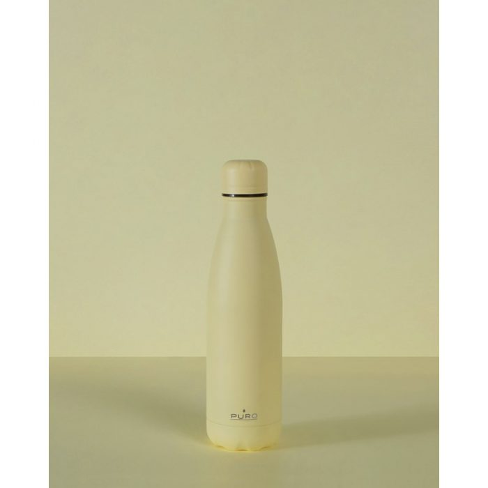 puro icon thermal stainless steel water bottle 500ml (light yellow) (powder coating) - export 2226