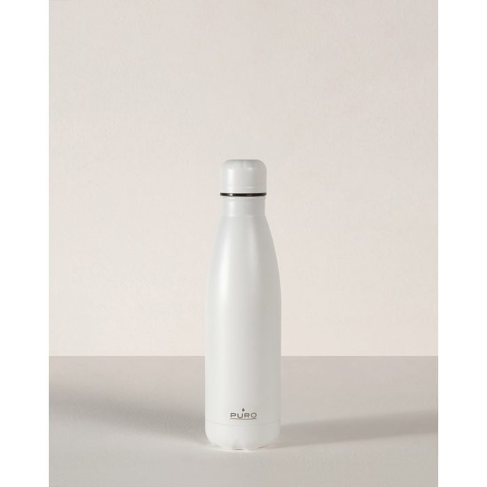 puro icon thermal stainless steel water bottle 500ml (white) (powder coating) - export 2231