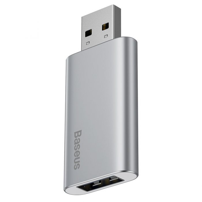 baseus usb flash drive 16gb with usb charger for laptop, computer and car (silver) - export 224