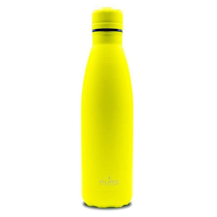 puro icon fluo thermal stainless steel water bottle 500ml (yellow) (powder coating) - export 2250