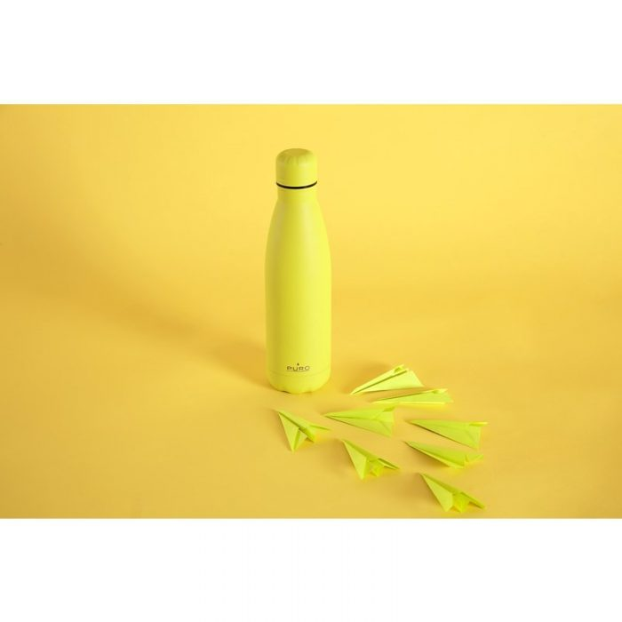 puro icon fluo thermal stainless steel water bottle 500ml (yellow) (powder coating) - export 2252