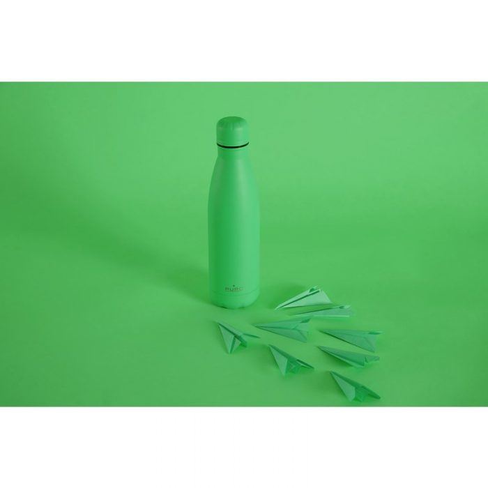 puro icon fluo thermal stainless steel water bottle 500ml (green) (powder coating) - export 2253
