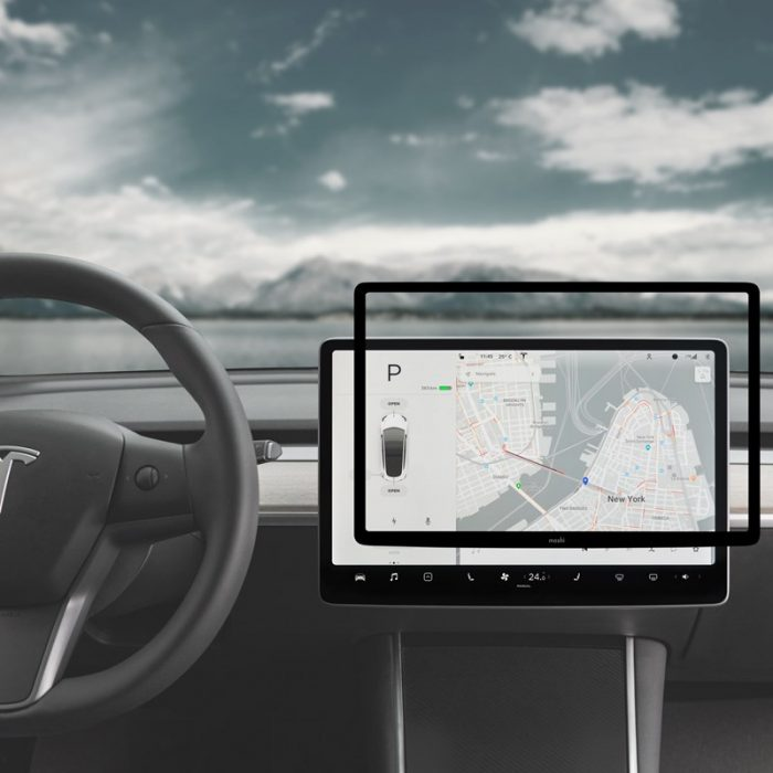 moshi ivisor ag - bubble-free screen protector for tesla model 3's central touchscreen (black/clear matte) - export 2313