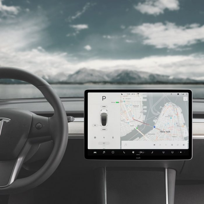 moshi ivisor ag - bubble-free screen protector for tesla model 3's central touchscreen (black/clear matte) - export 2314