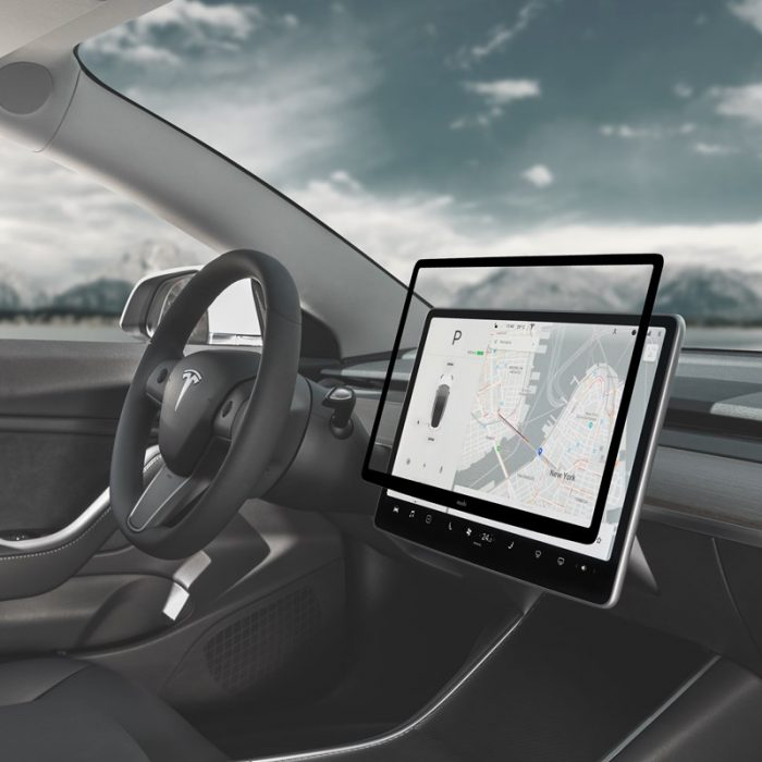 moshi ivisor ag - bubble-free screen protector for tesla model 3's central touchscreen (black/clear matte) - export 2315