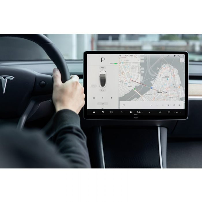 moshi ivisor ag - bubble-free screen protector for tesla model 3's central touchscreen (black/clear matte) - export 2316