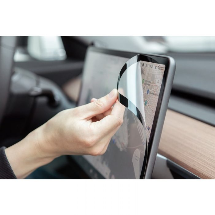 moshi ivisor ag - bubble-free screen protector for tesla model 3's central touchscreen (black/clear matte) - export 2319