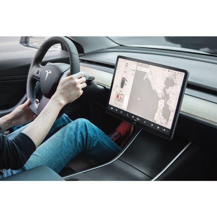moshi ivisor ag - bubble-free screen protector for tesla model 3's central touchscreen (black/clear matte) - export 2323