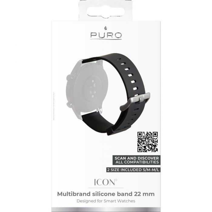 puro icon multibrand wristband 22 mm (s/m & m/l) (black) - export 2327