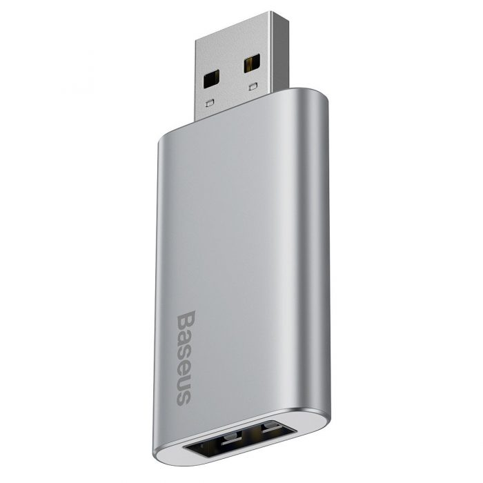 baseus usb flash drive 32gb with usb charger for laptop, computer and car (silver) - export 240