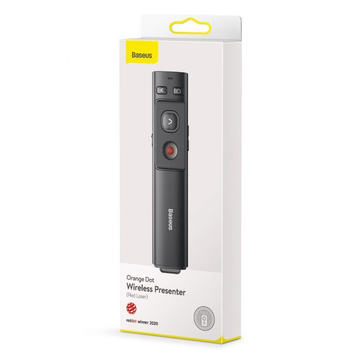baseus orange dot multifunctionale remote control for presentation, with a laser pointer - gray - export 2421