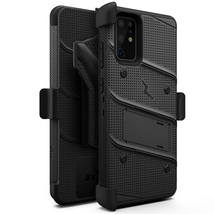 Zizo Bolt Cover - Case for Samsung Galaxy S20 Ultra & Kickstand and Holster (Black/Black) - export 3479
