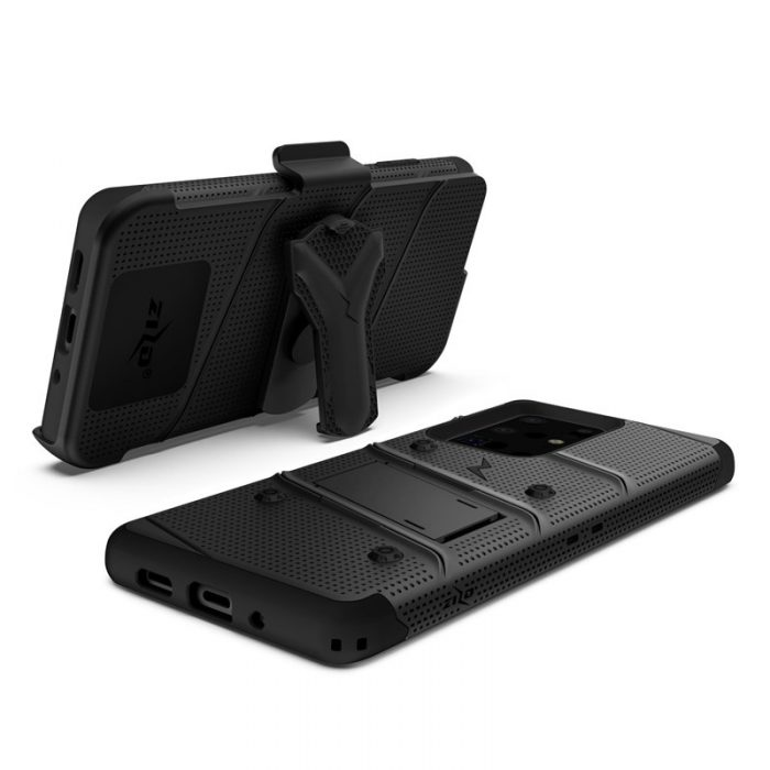 Zizo Bolt Cover - Case for Samsung Galaxy S20 Ultra & Kickstand and Holster (Black/Black) - export 3484