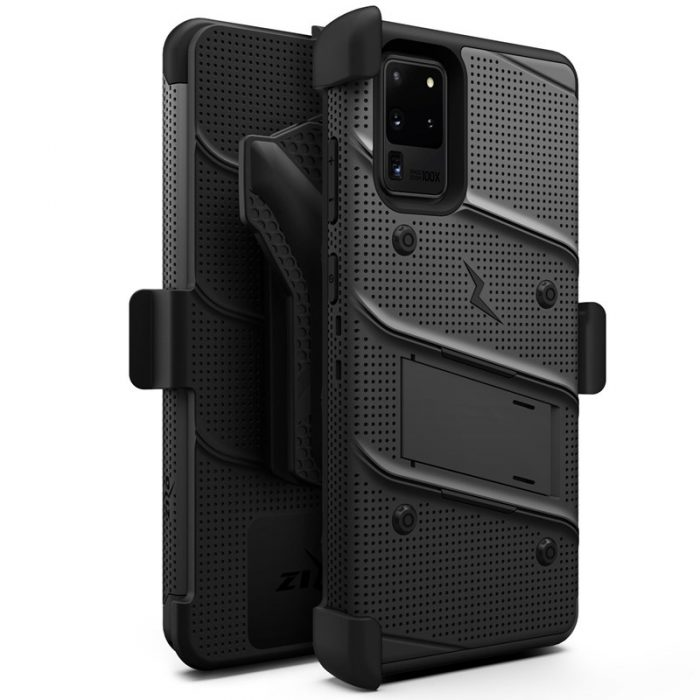 Zizo Bolt Cover - Case for Samsung Galaxy S20 Ultra & Kickstand and Holster (Black/Black) - export 3486