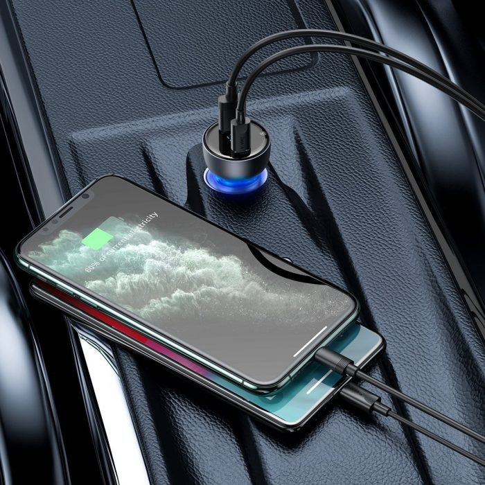 baseus particular digital display qc+pps dual quick charger car charger 65w gray - export 351