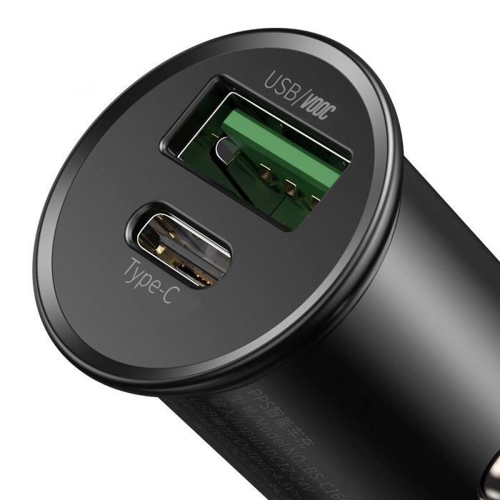 baseus circular metal pps quick charger car charger 30w (support vooc) black - export 354