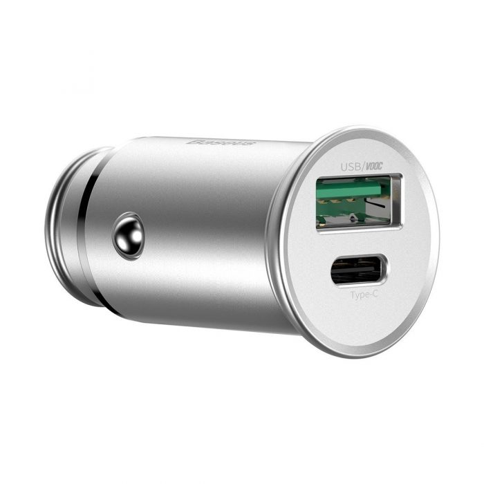 baseus circular metal pps quick charger car charger 30w (support vooc) silver - export 363