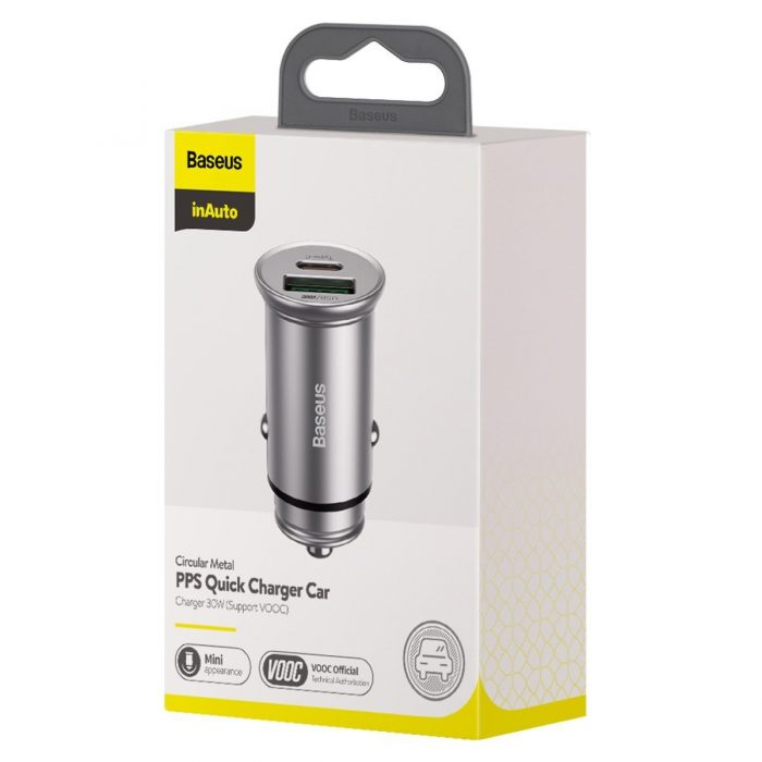 baseus circular metal pps quick charger car charger 30w (support vooc) silver - export 368