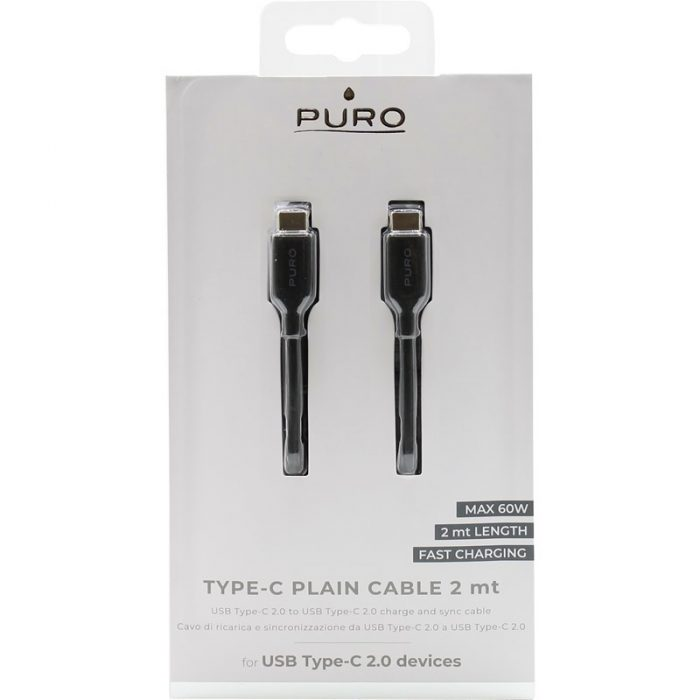 PURO Fast Charging Plain Type-C Cable, 2A, 60W, 2 m (black) - export 4137