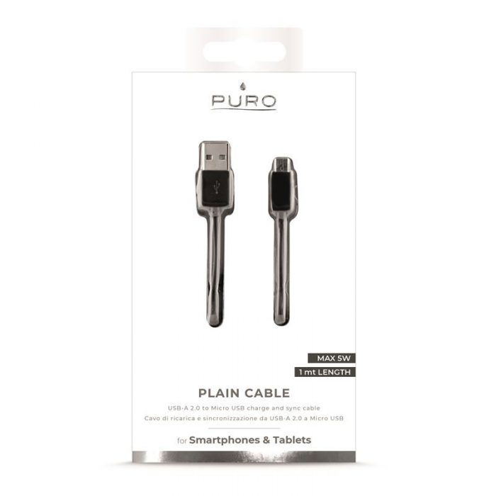 PURO micro USB to USB Cable, 1A, 1m (black) - export 4143