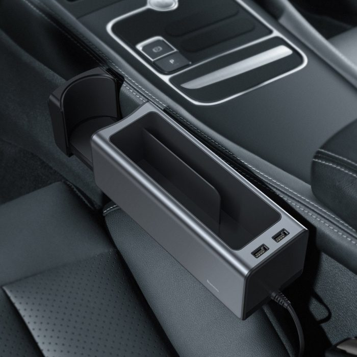 baseus deluxe metal car organizer with cup holder, 2x usb charge (black) - export 404