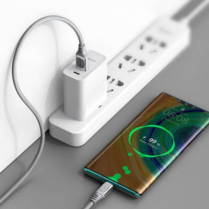 Quick Charge USB-C Baseus Flash, QC 3.0, Huawei SCP, Samsung AFC, 5A, 2m (silver) - export 781