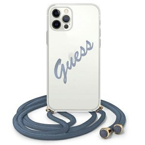 iPhone 12 Pro Max - Guess GUHCP12LCRTVSBL Apple iPhone 12 Pro Max blue hardcase Script Vintage - 1 - krytarna.cz