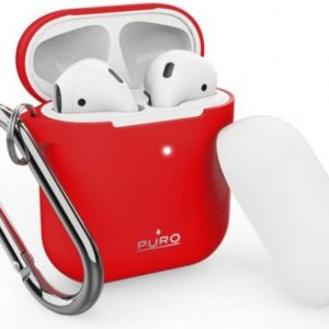 AirPods - PURO ICON Apple AirPods 1 & 2 with hook (Red + White Cap) - 1 - krytarna.cz