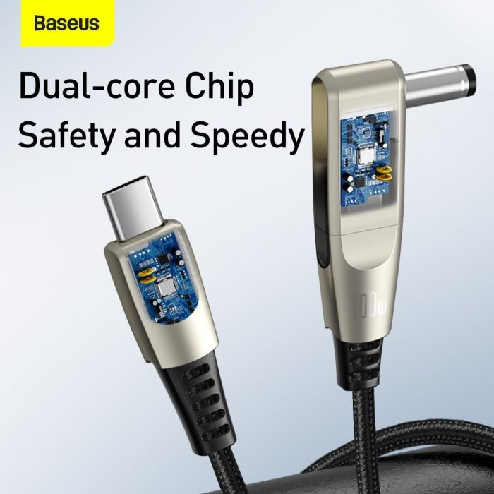 baseus flash series fast charging data cable with round type head type-c to c+dc 100w 2m (black) - export 35