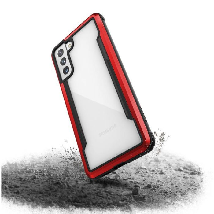 s21 plus - x-doria raptic shield aluminum case samsung galaxy s21+ plus (antimicrobial protection) (red) - 4 - krytarna.cz