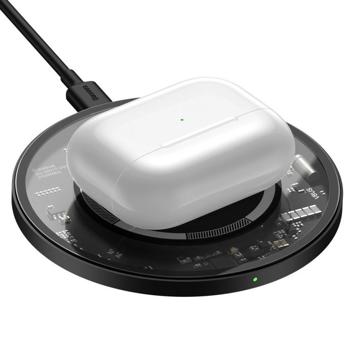 wireless chargers - baseus simple 15w wireless induction charger with magnet (transparent) - 4 - krytarna.cz