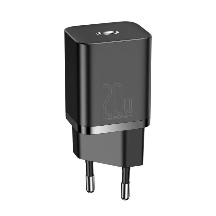 wall chargers - baseus super si quick charger 1c 20w with usb-c cable for lightning 1m (black) - 2 - krytarna.cz