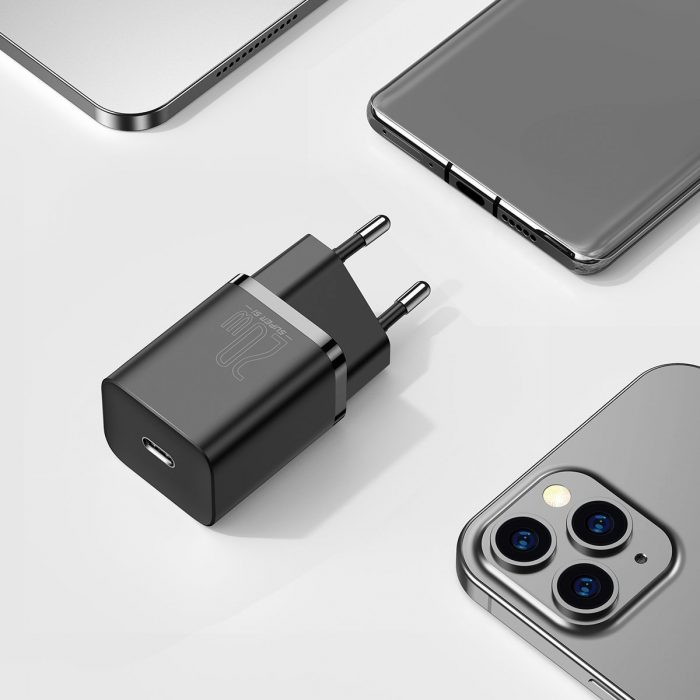 wall chargers - baseus super si quick charger 1c 20w with usb-c cable for lightning 1m (black) - 9 - krytarna.cz
