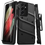S21 Ultra - Zizo Bolt Cover - Samsung Galaxy S21 Ultra 5G armored case with 9H glass for the screen + stand & belt clip (black) - 1 - krytarna.cz