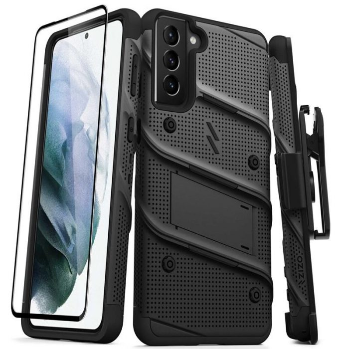 s21 plus - zizo bolt cover - samsung galaxy s21 + 5g armored case with 9h glass for the screen + stand & belt clip (black) - 1 - krytarna.cz
