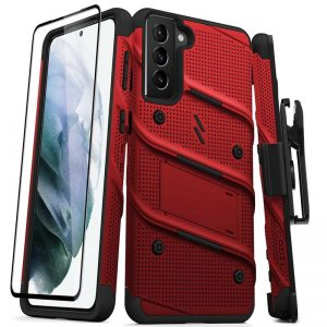 S21 Plus - Zizo Bolt Cover - Samsung Galaxy S21 + 5G armored case with 9H glass for the screen + stand & belt clip (red / black) - 1 - krytarna.cz