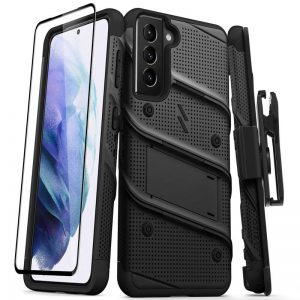 S21 - Zizo Bolt Cover - Samsung Galaxy S21 5G armored case with 9H glass for the screen + stand & belt clip (black) - 1 - krytarna.cz