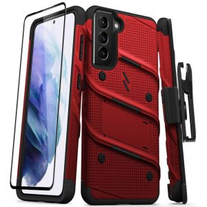 S21 - Zizo Bolt Cover - Samsung Galaxy S21 5G armored case with 9H glass for the screen + stand & belt clip (red / black) - 1 - krytarna.cz
