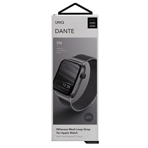 apple watch - uniq dante apple watch series 4/5/6/se 40mm stainless steel graphite - 2 - krytarna.cz