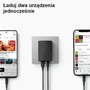 Wall Chargers - UNIQ Wall Charger Votre Slim Duo 20W USB-C + USB-A charcoal black - 2 - krytarna.cz