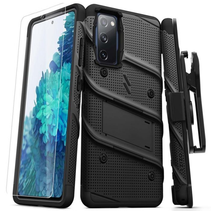 s20 fe - zizo bolt cover - samsung galaxy s20 fe armored case with 9h glass for the screen + stand & belt clip (black) - 1 - krytarna.cz