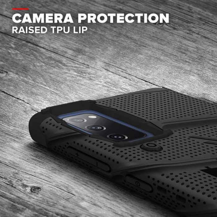 s20 fe - zizo bolt cover - samsung galaxy s20 fe armored case with 9h glass for the screen + stand & belt clip (black) - 7 - krytarna.cz