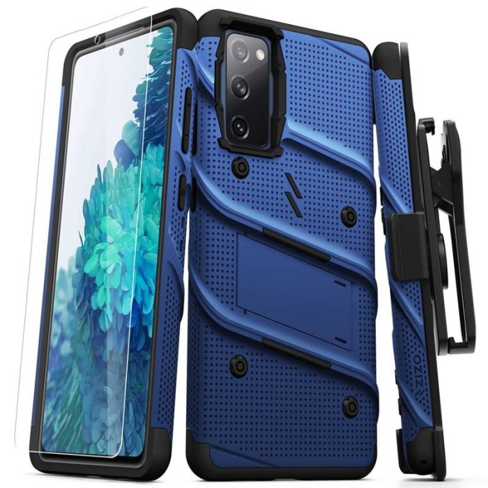 s20 fe - zizo bolt cover - samsung galaxy s20 fe armored case with 9h glass for the screen + stand & belt clip (blue / black) - 1 - krytarna.cz
