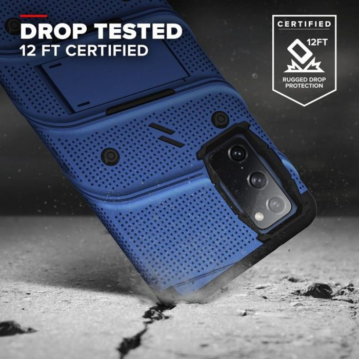 s20 fe - zizo bolt cover - samsung galaxy s20 fe armored case with 9h glass for the screen + stand & belt clip (blue / black) - 2 - krytarna.cz