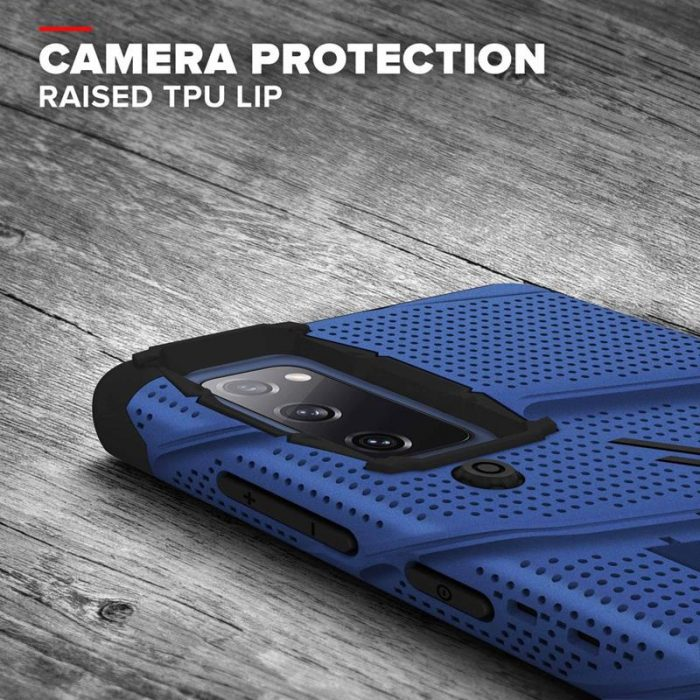 s20 fe - zizo bolt cover - samsung galaxy s20 fe armored case with 9h glass for the screen + stand & belt clip (blue / black) - 7 - krytarna.cz