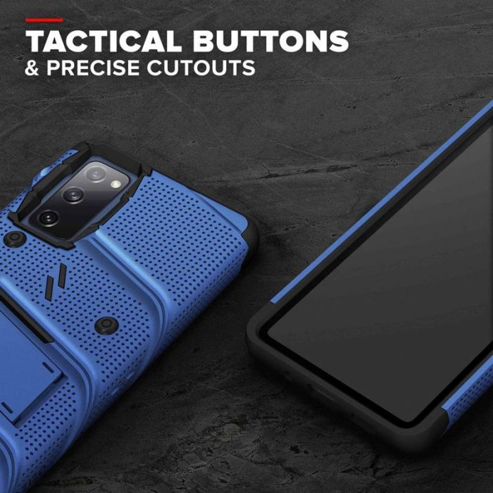 s20 fe - zizo bolt cover - samsung galaxy s20 fe armored case with 9h glass for the screen + stand & belt clip (blue / black) - 8 - krytarna.cz