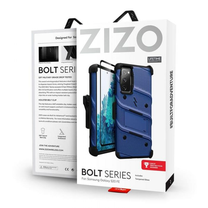 s20 fe - zizo bolt cover - samsung galaxy s20 fe armored case with 9h glass for the screen + stand & belt clip (blue / black) - 9 - krytarna.cz