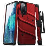 S20 FE - Zizo Bolt Cover - Samsung Galaxy S20 FE armored case with 9H glass for the screen + stand & belt clip (red / black) - 1 - krytarna.cz